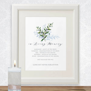 Olive Branch memorial sign template, contemplative wedding guest in loving memory poster, several sizes priced from