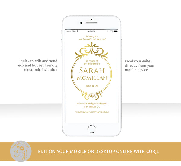 Classic Gold Bachelorette Weekend eVite Template, Elegant Gold Crest