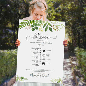 Printable wedding timeline and welcome sign template