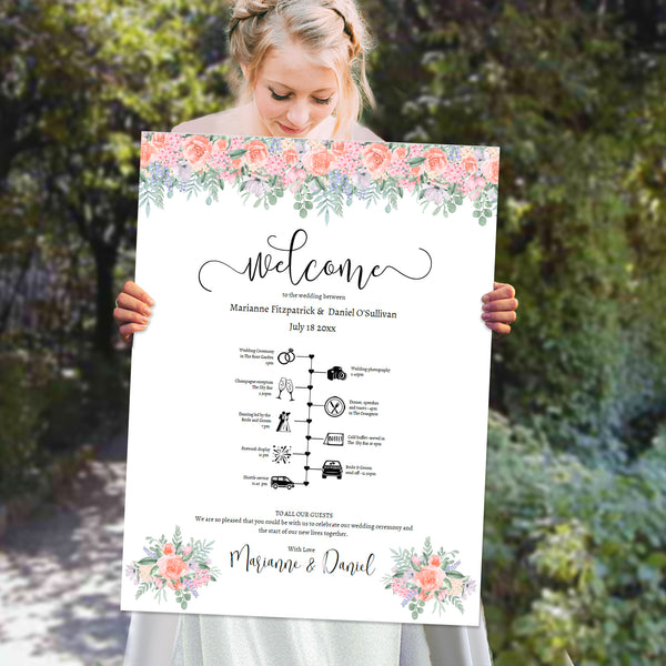 Wedding timeline welcome poster template with victorian roses