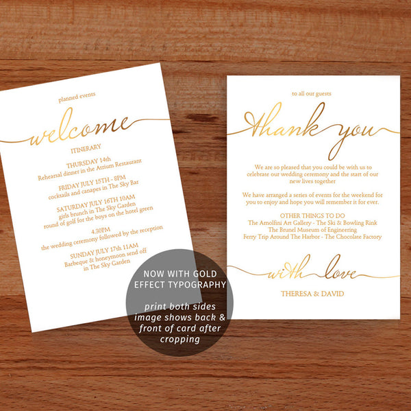 Gold printable wedding weekend itinerary, guest welcome letter template, 2 sided