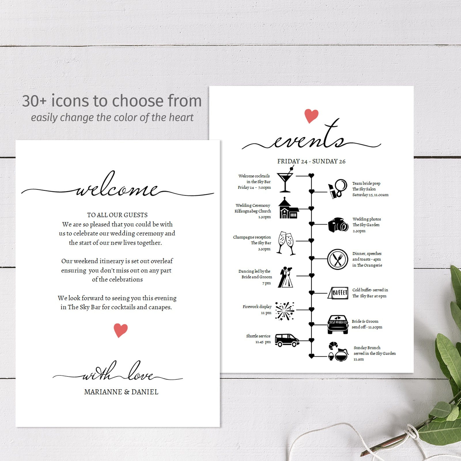 Wedding timeline template to download, edit and print