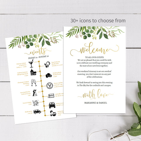 Greenery wedding timeline printable itinerary template