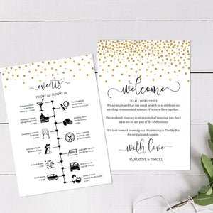 Printable wedding weekend timeline template by The Stationery Concierge