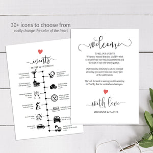Printable wedding timeline card by The Stationery Concierge