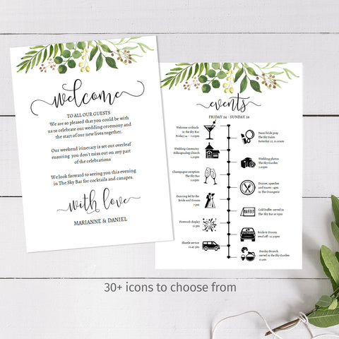 Printable wedding event timeline template