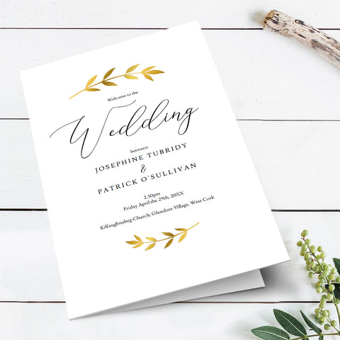 customizable DIY wedding program template, modern chic design