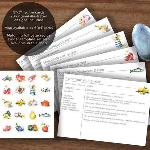 Illustrated printable recipe card templates 7x5 inch