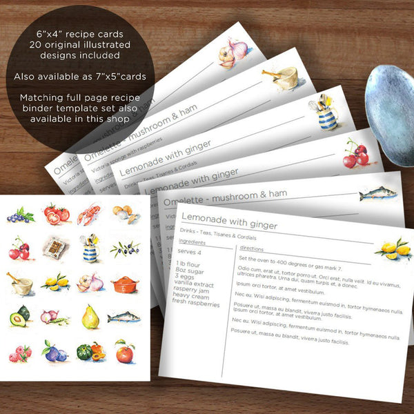 6x4 illustrated recipe card templates