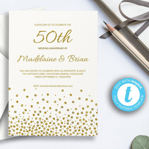 Printable golden wedding anniversary invitation