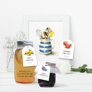 printable mason jar tags with food illustrations