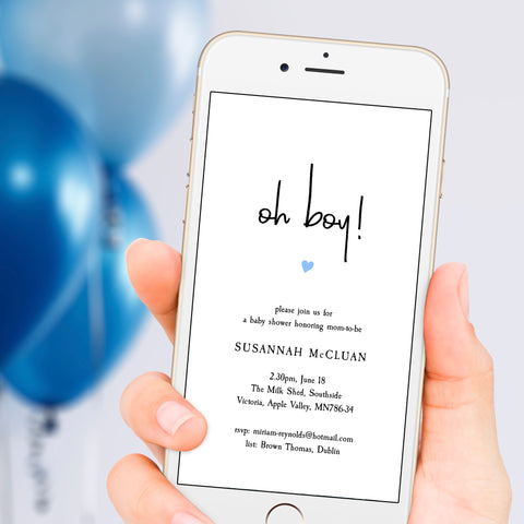Electronic Baby Boy shower evite cellphone template
