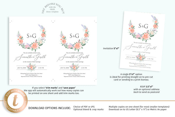 Vintage watercolor roses DIY wedding invitation templates
