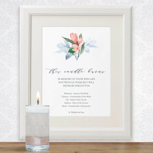 This candle burns memorial sign template, pink floral contemplative wedding guest poster, several sizes priced from