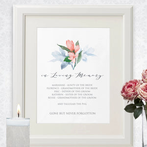 Pink floral memorial sign template, contemplative wedding guest in loving memory poster, several sizes priced from