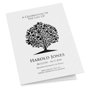 Funeral program template with pomegranate tree