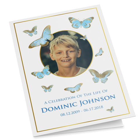 Folding funeral program template for a boy