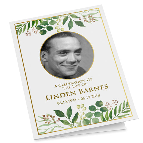 Printable greenery funeral program template for a father or grandfather
