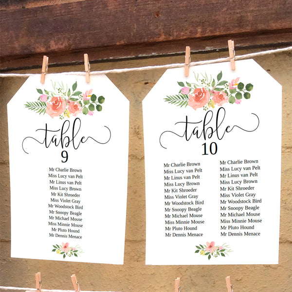 Printable wedding seating plan template with pink rose watercolors