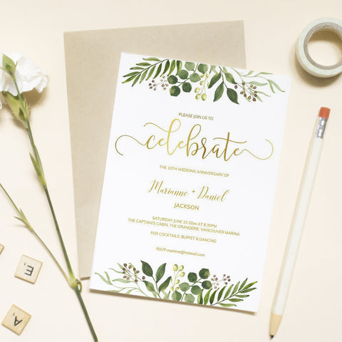 Printable greenery celebration invitation with faux gold calligraphy