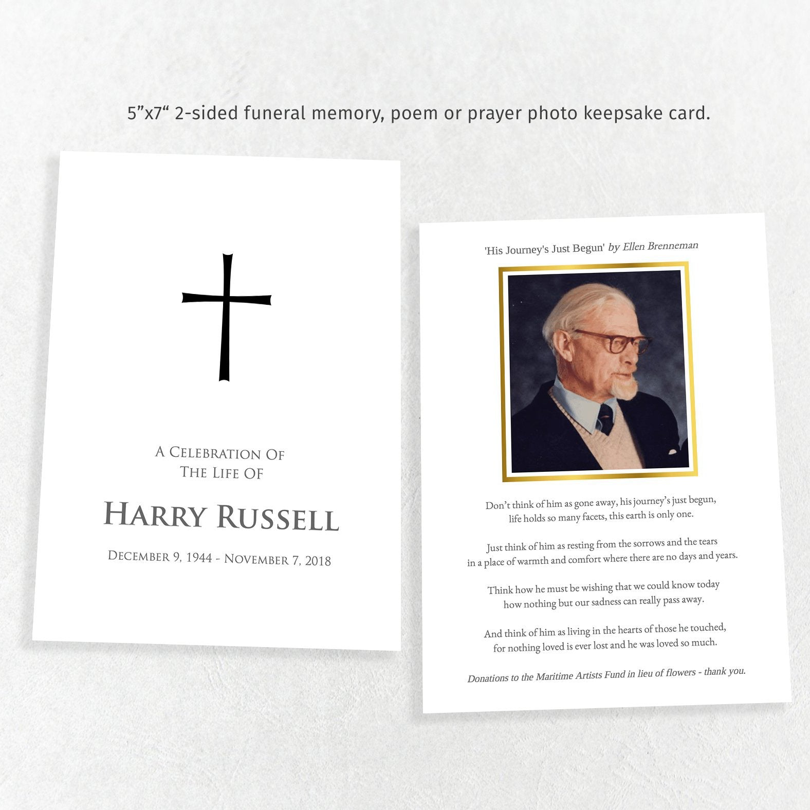 Printable funeral share a memory card, elegant cross, easy to edit 5x7 template
