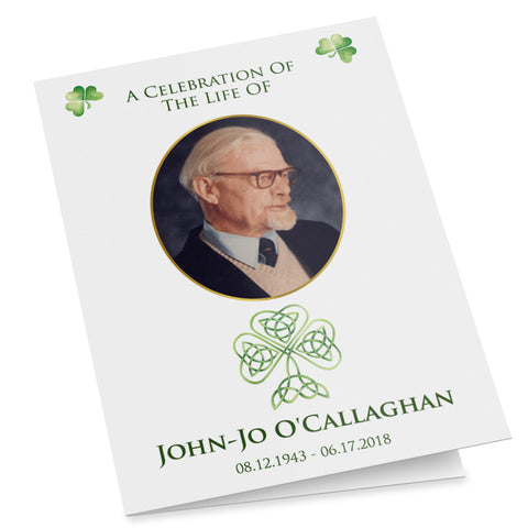 Irish Catholic folding printable funeral program template