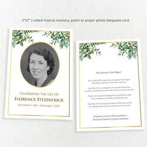 Gold & greenery poem or prayer memorial card, easy to edit funeral template