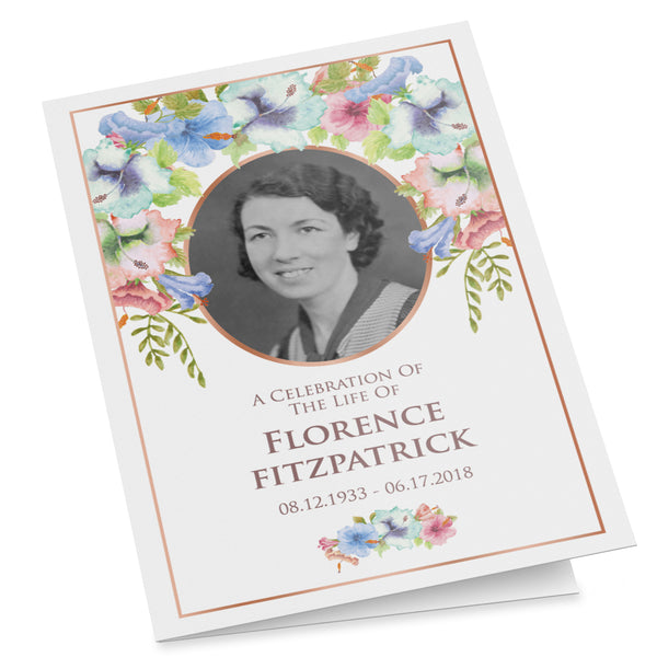 Printable funeral program template with rainbow flower bouquet