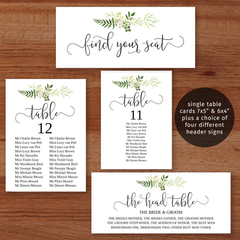 Printable editable greenery wedding seating chart templates