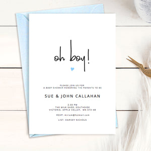 printable baby boy shower invitation