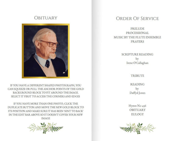 Printable greenery funeral program, foldable order of service template, photos optional | Man's funeral ideas
