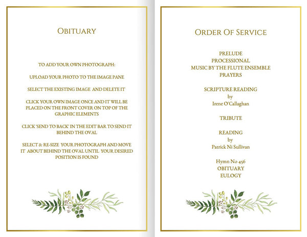 Printable funeral program with natural greenery, folding template, obituary or memorial service for a man