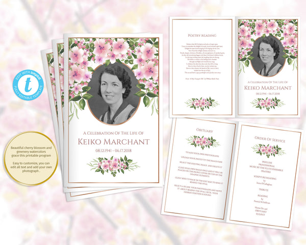 Printable funeral program with Japanese cherry blossom, folding template, add a photo