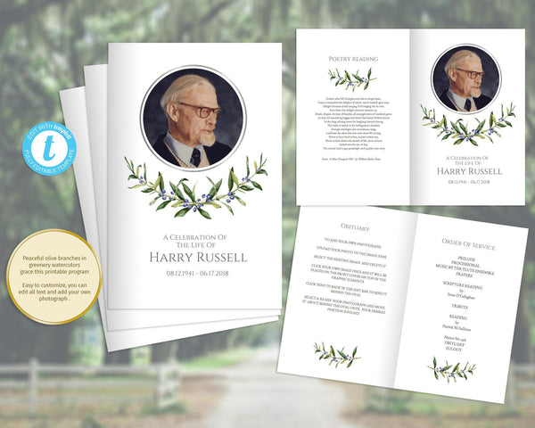 Printable memorial program with olive branches, obituary funeral template with silver photo frame