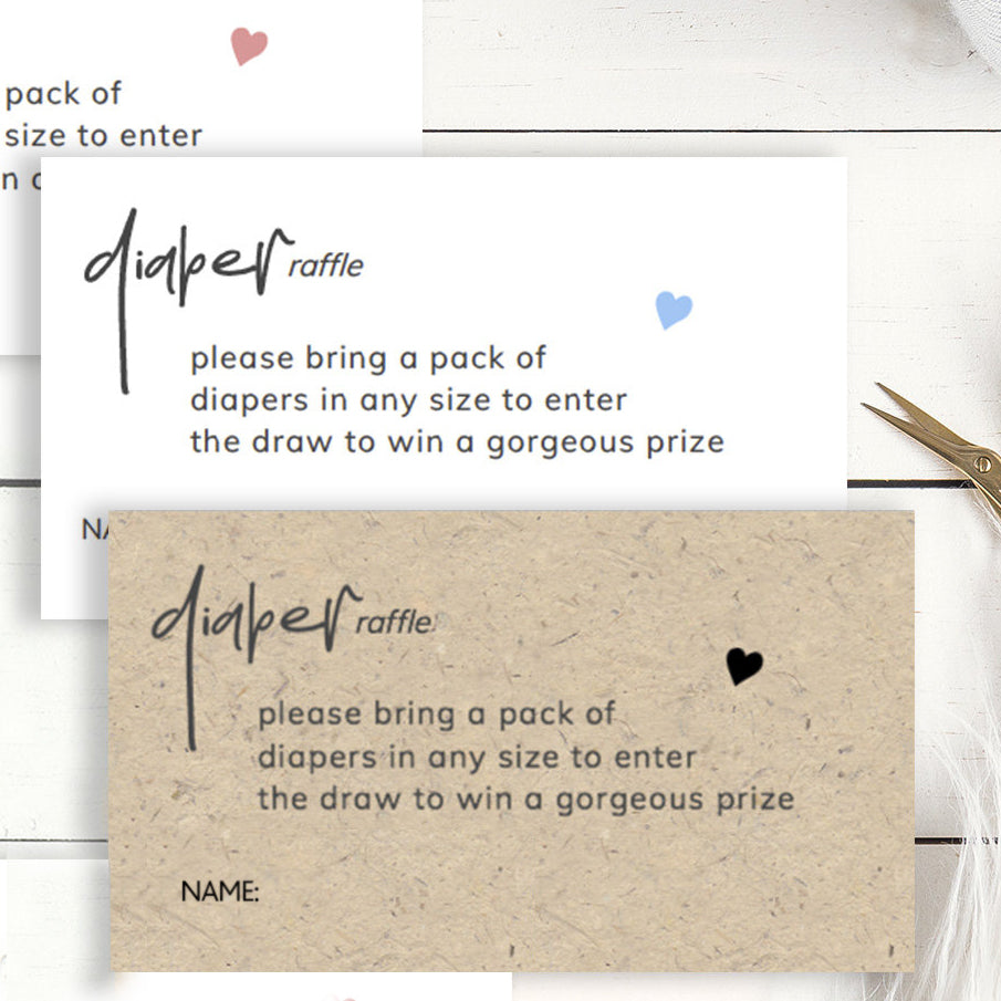 Printable Baby Shower Diaper Raffle Card Template With Modern Calligraphy