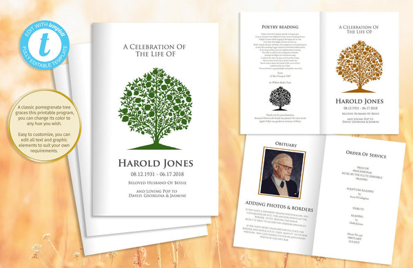 Printable pomegranate tree funeral program, foldable memorial eulogy template, easily change the tree color