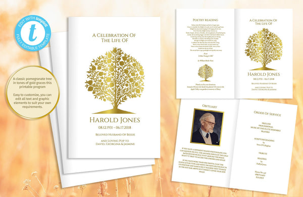 Funeral program with a gold pomegranate tree, printable memorial template, photos optional
