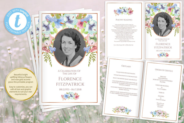 Printable floral funeral program, add a photo, obituary template for mother or grandmother