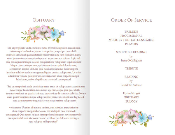 Printable funeral program with floral wreath, obituary memorial template, add a photo