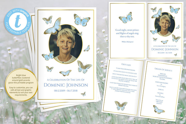 Printable boys funeral program, blue and gold obituary template, add a photo