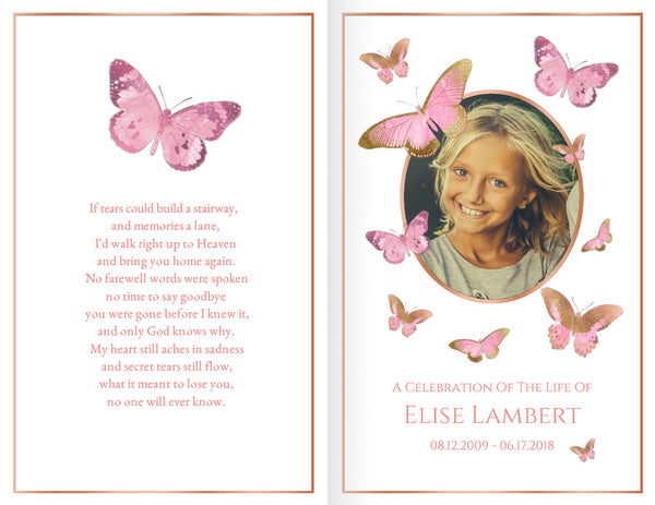 Printable girls funeral program, pink and rose gold obituary template, add a photo