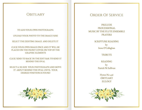 Printable folding funeral program with yellow flowers, faux gold border frame, obituary template