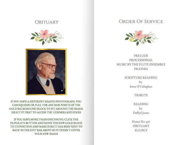 Printable funeral memorial program with pink roses, foldable obituary template
