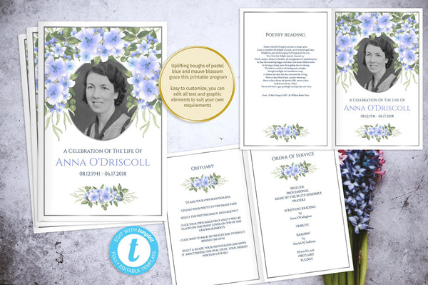 Printable memorial program with blue flowers, foldable obituary template, silver photo frame