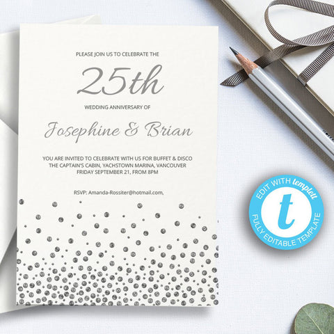 printable silver wedding invitation template