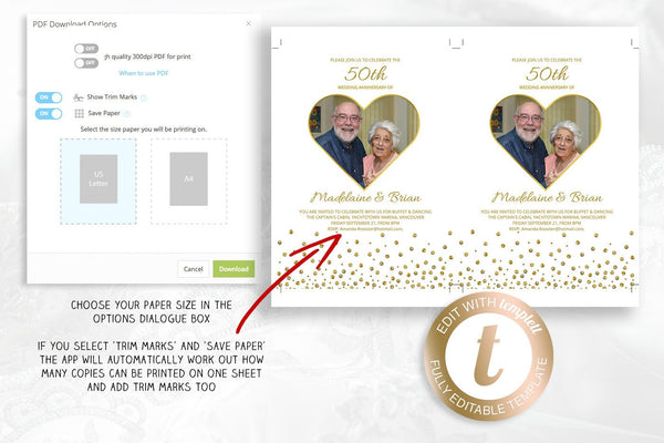 50th wedding anniversary invitation, printable gold heart photo frame, celebration template