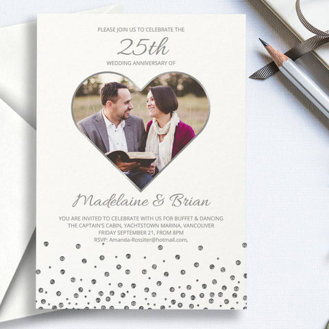 Printable 25th wedding anniversary invitation with silver heart