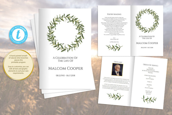 Olive wreath printable funeral program, folding obituary template, celebration of life