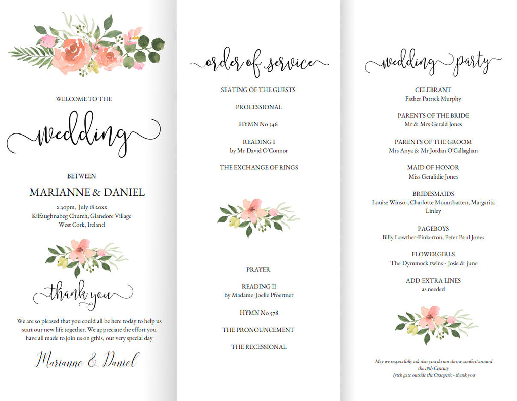 printable z fold wedding program template dusty pink rose