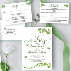 Irish wedding invitation suite with Celtic shamrocks, DIY printable templates